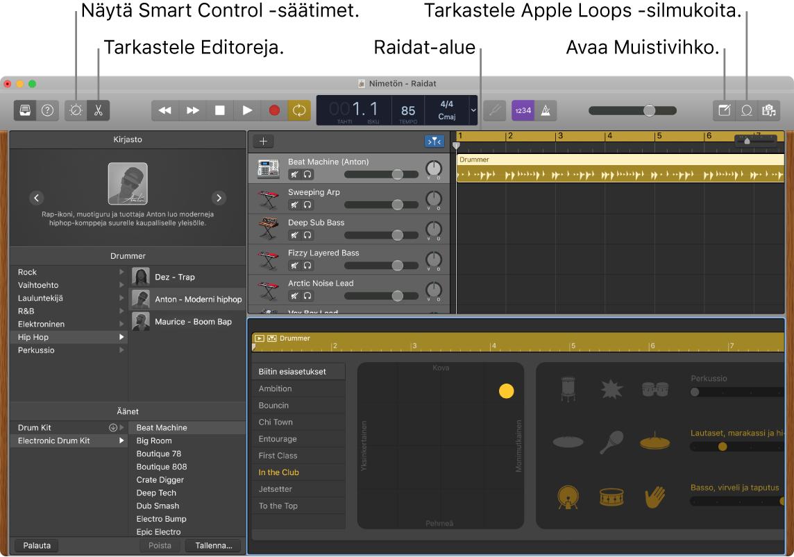 GarageBand-ikkuna, jossa näkyy painikkeet Älykkäiden säätimien, Editorien, Muistiinpanojen ja Apple Loops -silmukoiden käyttämistä varten. Siinä näkyy myös raitojen näyttö.