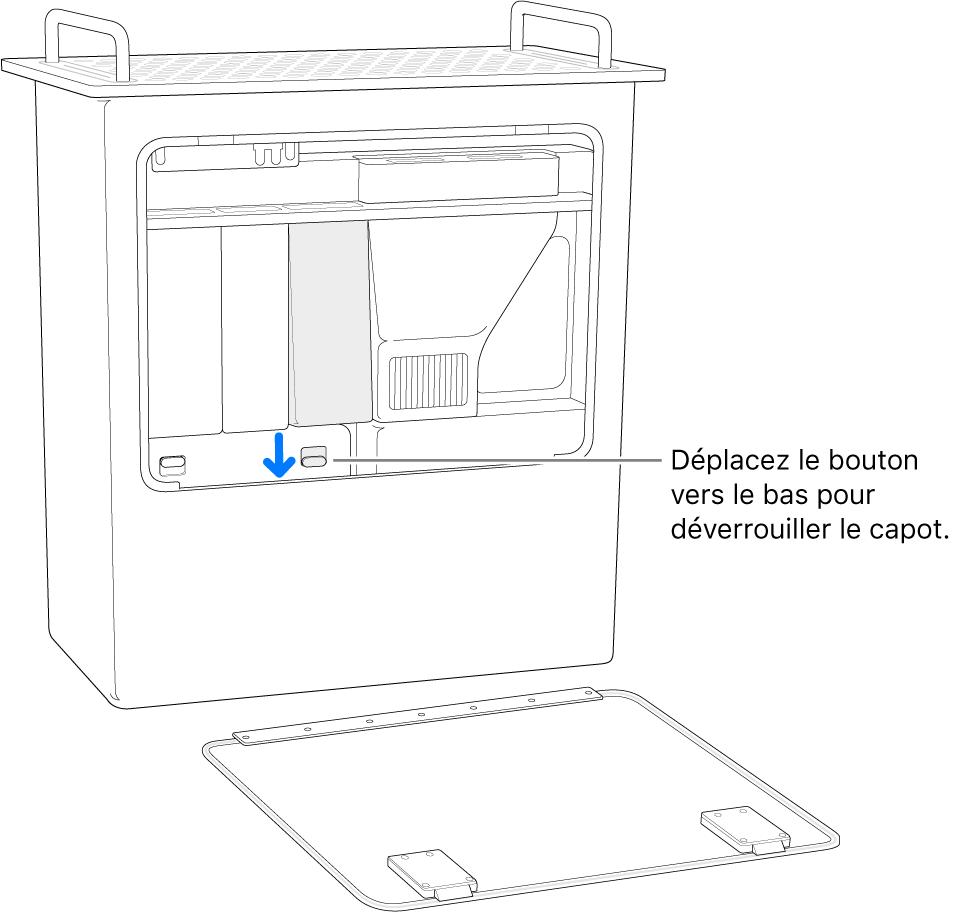 MacPro reposant sur son extrémité, avec le bouton qui débloque le cache de DIMM mis en évidence.