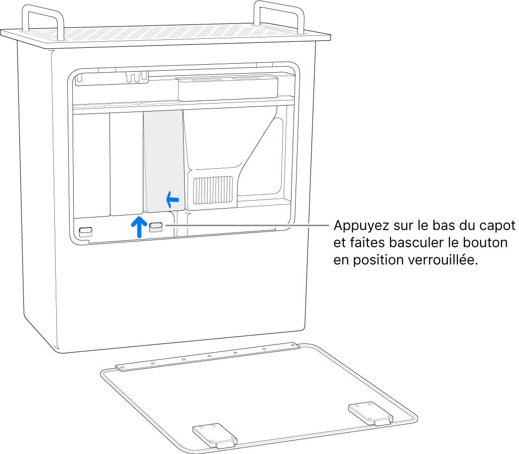 Mac Pro reposant sur son extrémité, montrant comment placer le bouton du DIMM en position verrouillée.