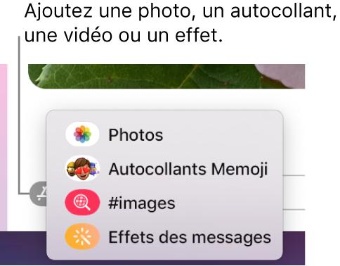 Menu Apps avec des options pour afficher des photos, des autocollants Memoji, des GIF et des effets des messages.