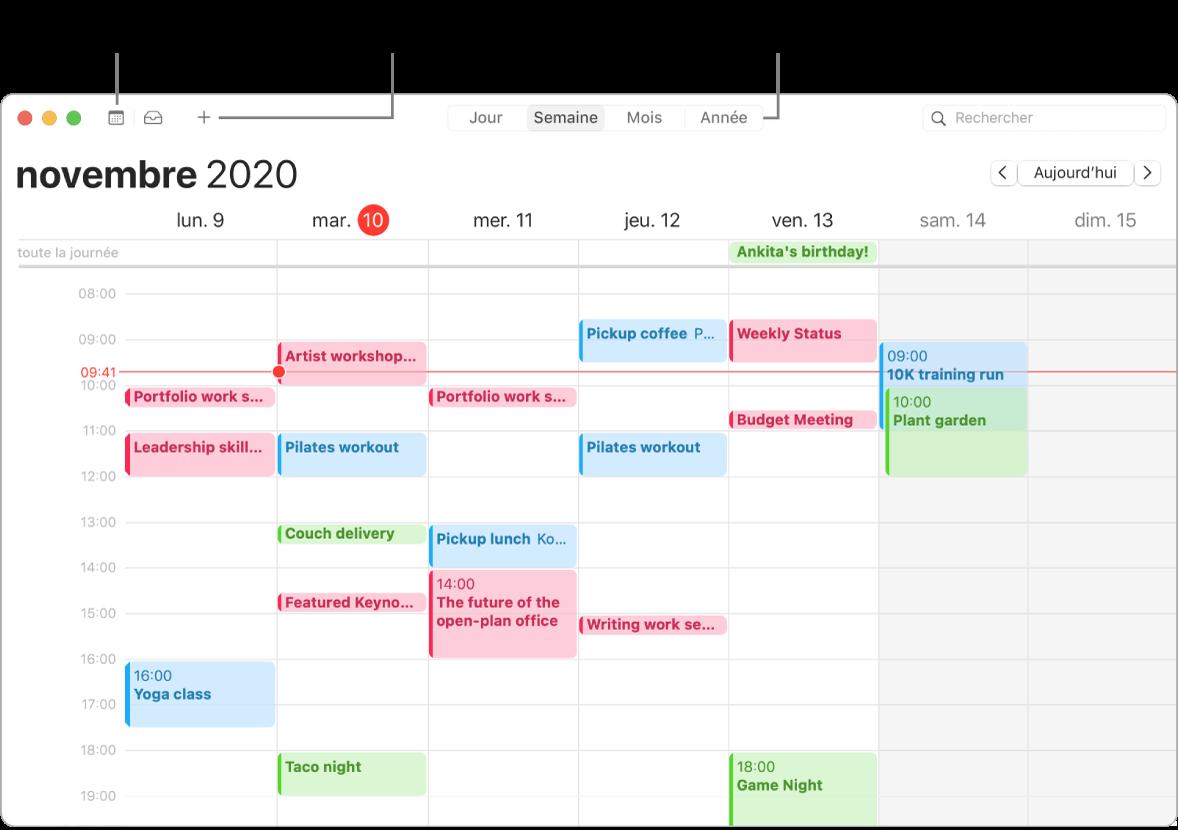 Une fenêtre de Calendrier indiquant comment créer un évènement, obtenir la liste des évènements et choisir une présentation par jour, par semaine, par mois ou par année.