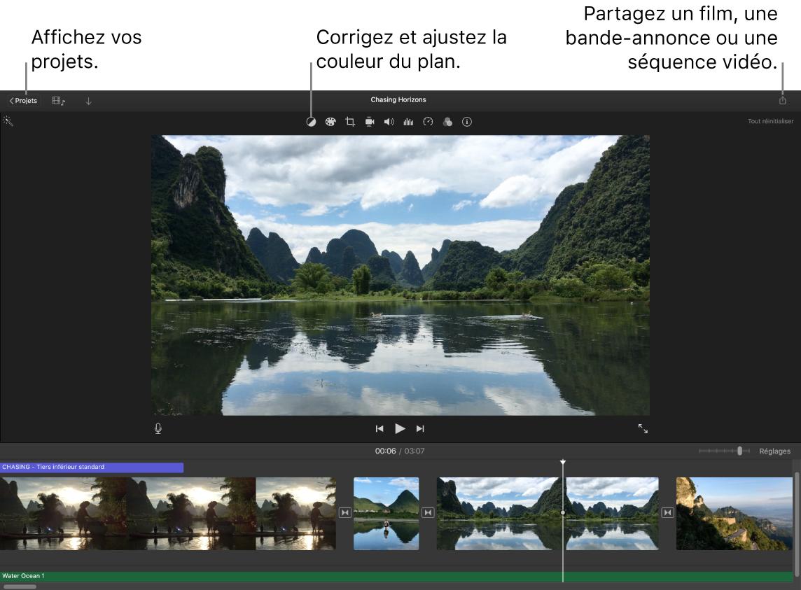 Une fenêtre d'iMovie présentant les boutons pour afficher des projets, corriger et ajuster les couleurs, et partager votre film, votre bande-annonce ou votre vidéo.