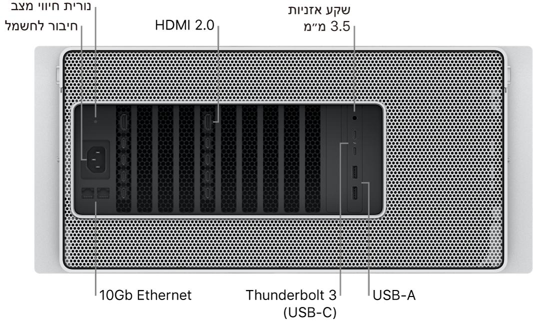 מבט מאחור על Mac Pro המציג את שקע החשמל, את נורית מחוון המצב, שתי יציאות HDMI 2.0, מחבר אוזניות 3.5 מ״מ, שתי יציאות 10 Gigabit Ethernet, שתי יציאות Thunderbolt3 (USB-C) ושתי יציאות USB-A.