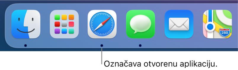 Dio Docka prikazuje crne točkice ispod otvorenih aplikacija.