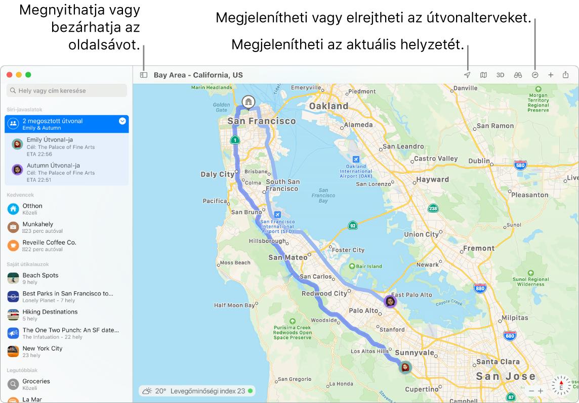 A Térképek ablaka, amely megmutatja, hogyan lehet útvonalterveket beszerezni az oldalsávon található célokra kattintva, hogyan lehet megnyitni vagy becsukni az oldalsávot, valamint hogyan lehet megtalálni az aktuális helyzetet a térképen.