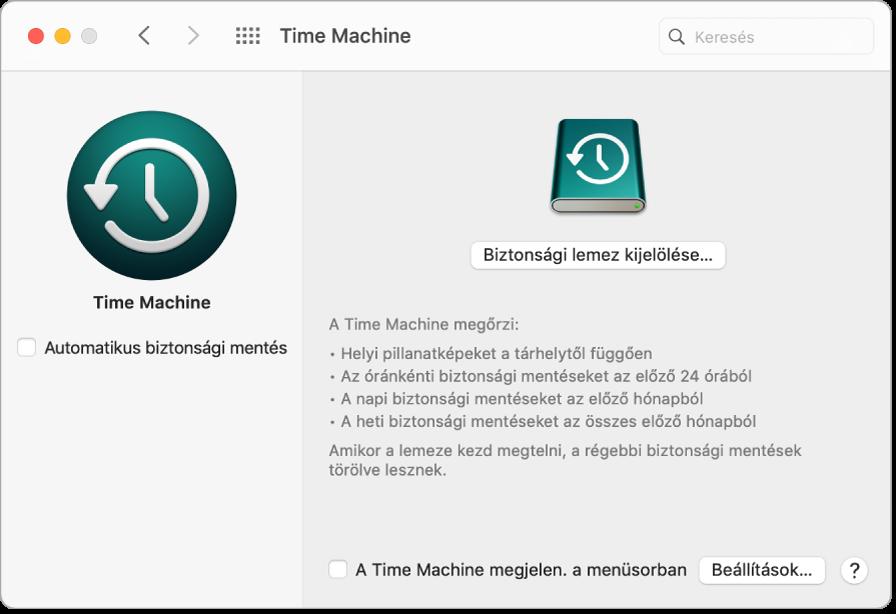 A Time Machine biztonsági mentés ablaka.
