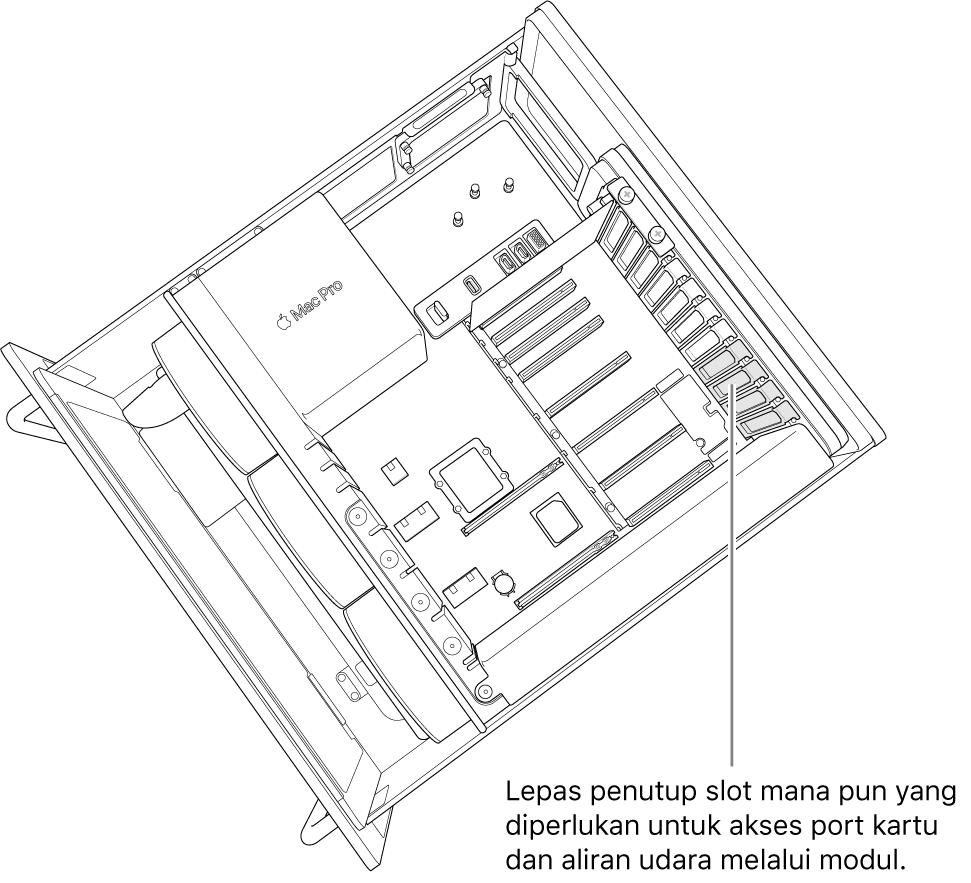 Lepas semua penutup slot yang diperlukan agar dapat mengakses port kartu dan aliran udara melalui modul.