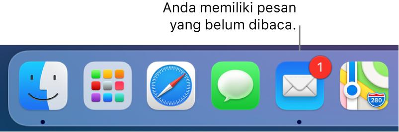 Satu bagian di Dock menampilkan ikon app Mail, dengan tanda yang mengindikasikan pesan belum dibaca.