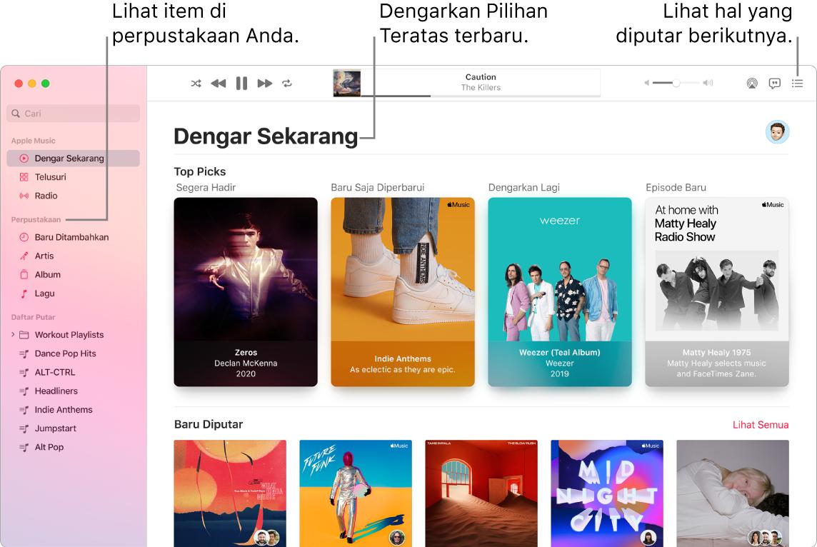Jendela app Musik menampilkan cara untuk melihat perpustakaan Anda, mendengarkan Apple Music, dan melihat lagu yang akan diputar berikutnya.