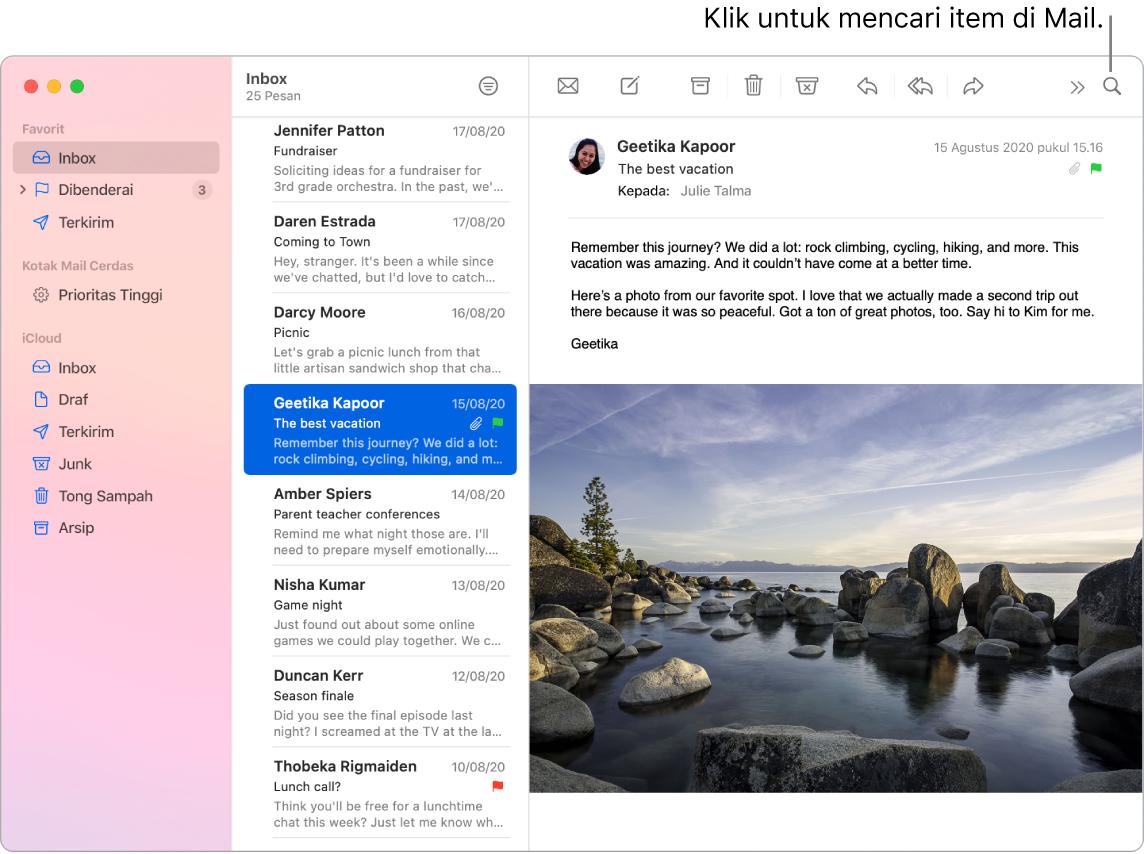 Jendela Mail menampilkan bar samping di kiri dengan Favorit, Kotak Mail Cerdas, dan folder iCloud, daftar pesan di samping bar samping, dan konten pesan yang dipilih di kanan.