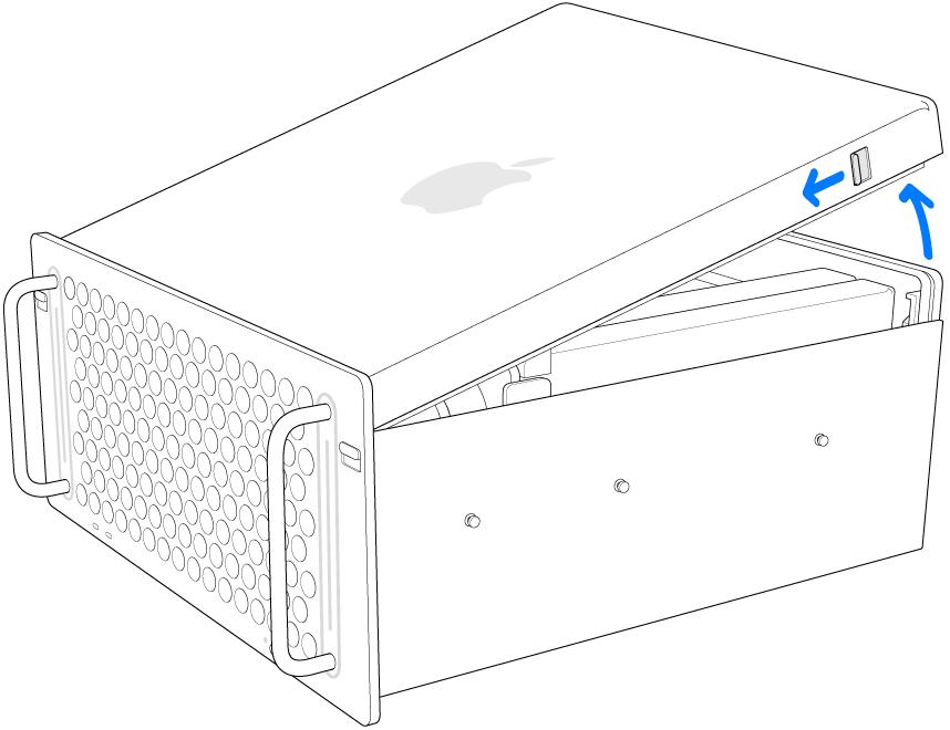Mac Pro bertumpu di bagian sampingnya, menampilkan cara melepas penutup.