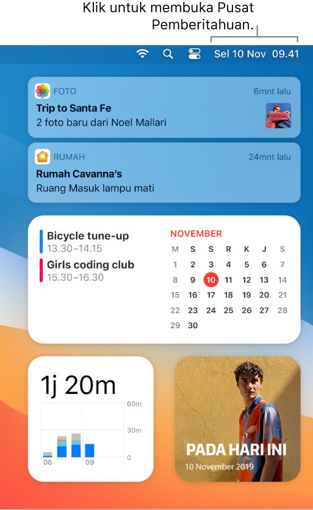 Layar desktop terpisah menampilkan Pusat Pemberitahuan dibuka dengan tab Hari Ini dipilih.