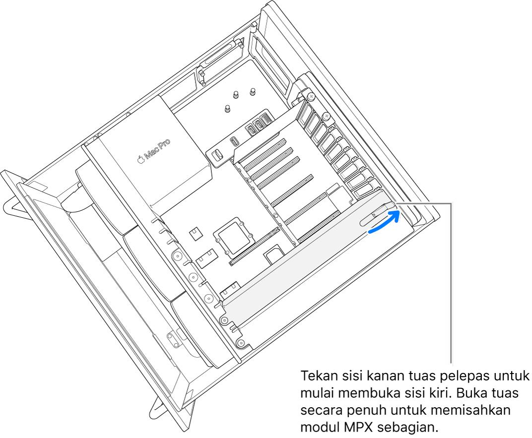 Membuka lever untuk melepas modul yang ada.