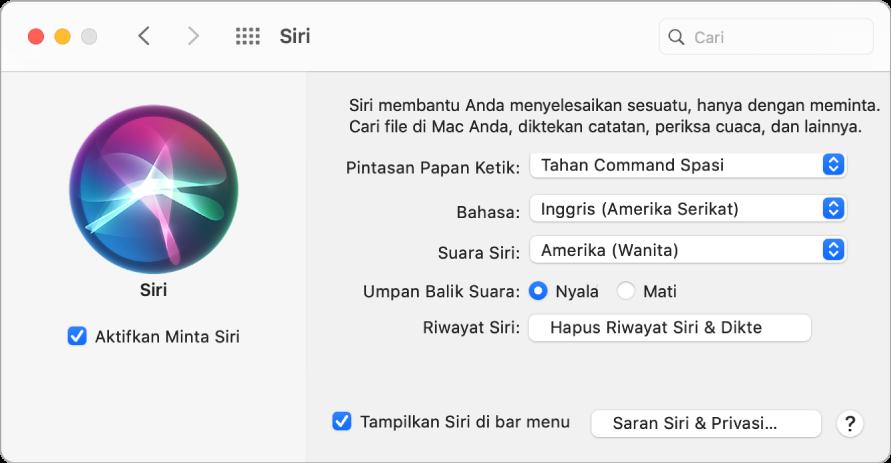 Jendela preferensi Siri dengan Aktifkan Minta Siri dipilih di sebelah kiri dan beberapa pilihan untuk menyesuaikan Siri di sebelah kanan.