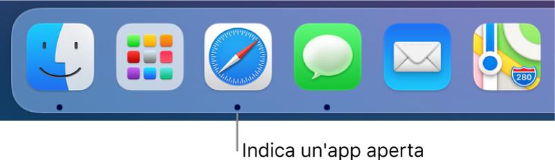 Una parte del Dock che mostra punti neri tra le app aperte.