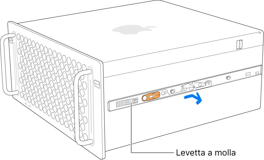 Binario che viene staccato dal lato del Mac Pro.