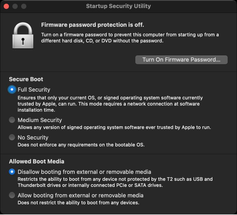Startup Security Utility терезесі қауіпсіз іске қосу үшін параметр белгіленіп және сыртқы іске қосу үшін параметр белгіленіп ашық тұр.