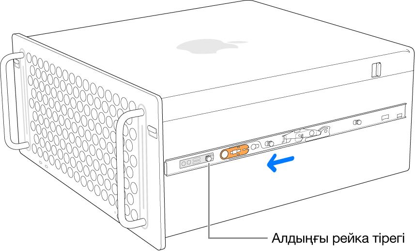 Алға қарай сырғып, орнына бекітіліп жатқан рейкасы бар Mac Pro.