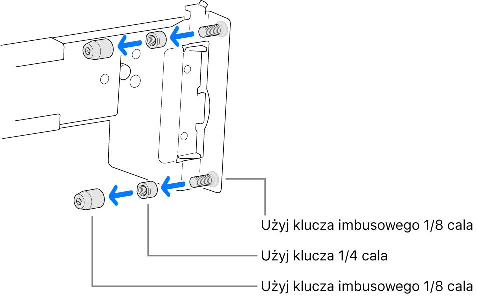 Szyny montażowe pasujące do szafy serwerowej zotworami gwintowanymi.