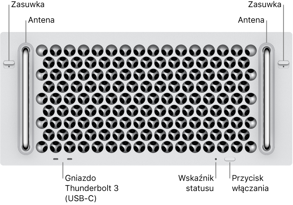 Widok Maca Pro zprzodu zwidocznymi dwoma gniazdami Thunderbolt3 (USB-C), lampką wskaźnika statusu, przyciskiem włączania oraz anteną.