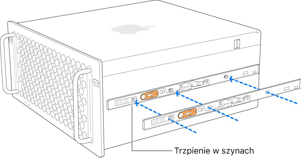 Mac Pro zzamocowaną do boku szyną wewnętrzną.
