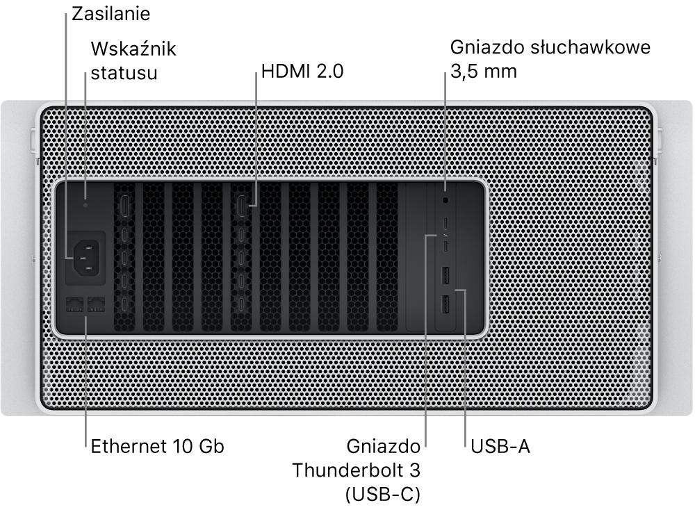 Widok Maca Pro od tyłu zwidocznym gniazdem zasilania, lampką wskaźnika statusu, dwoma gniazdami HDMI 2.0, gniazdem słuchawkowym 3,5mm, dwoma gniazdami 10Gigabit Ethernet, dwoma gniazdami Thunderbolt3 (USB-C) oraz dwoma gniazdami USB-A.