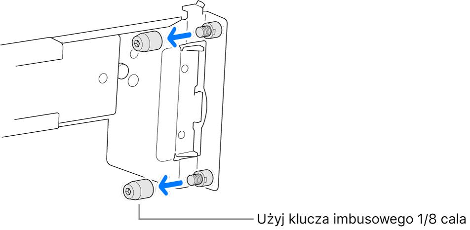 Szyny montażowe pasujące do szafy serwerowej zotworami okrągłymi.