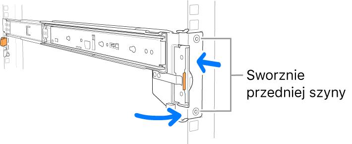Szyna montażowa ilustrująca położenie sworzni przedniej części szyny.
