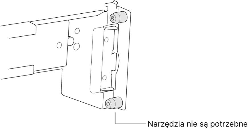 Szyny montażowe pasujące do szafy serwerowej zotworami kwadratowymi.
