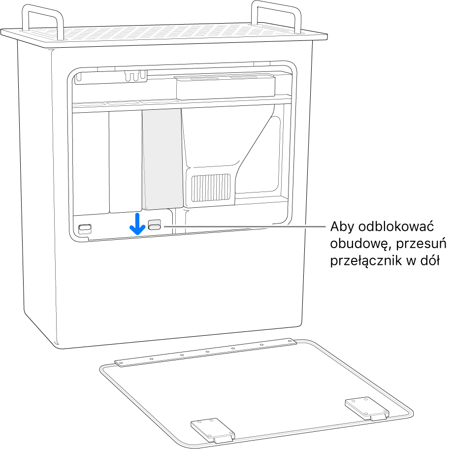 Mac Pro stojący na tylnej ścianie zwyróżnionym przełącznikiem odblokowującym osłonę modułów DIMM.