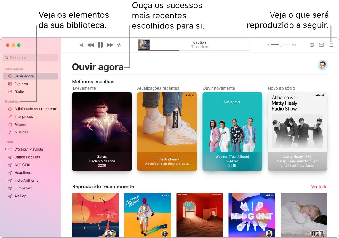 Uma janela da aplicação Música mostra como ver a biblioteca, ouvir AppleMusic e ver o que será reproduzido de seguida.