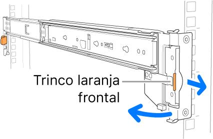 Uma calha de montagem a ilustrar o local do trinco frontal.