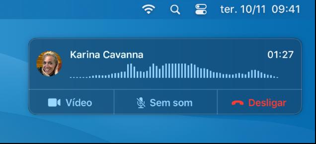 Parte de um ecrã do Mac a mostrar a janela de notificação de chamada.
