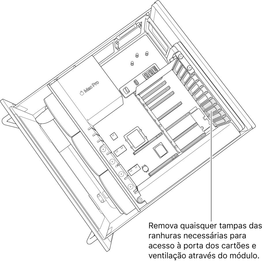 Remova quaisquer tampas das ranhuras necessárias para acesso à porta da placa e ventilação através do módulo.