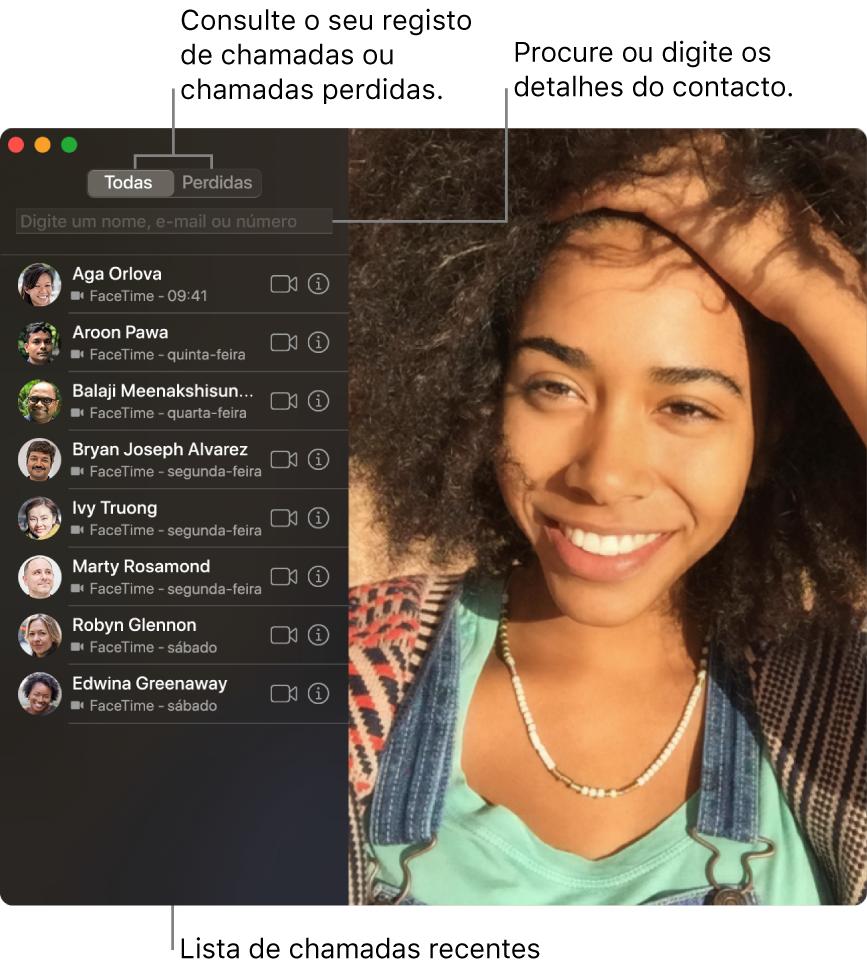 Uma janela do FaceTime que mostra como fazer uma chamada de vídeo ou áudio, usar o campo de pesquisa para introduzir ou pesquisar detalhes de contacto, e ver a lista de chamadas recentes.