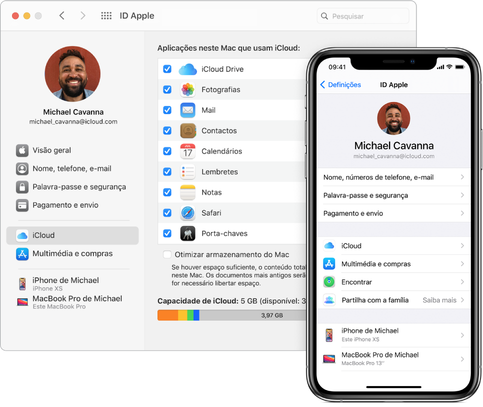 Definições de iCloud num iPhone e a janela de iCloud no Mac.