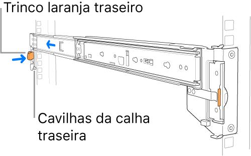 Uma calha de montagem a ilustrar o local das cavilhas da calha traseira e o trinco.
