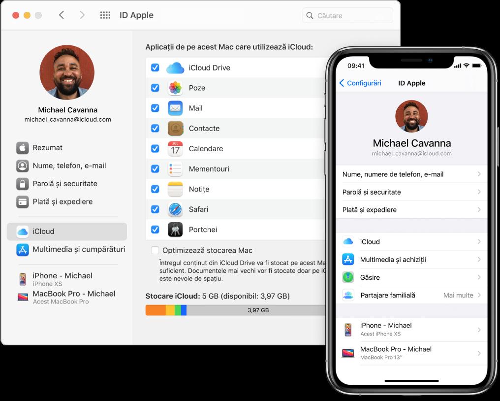 Configurările iCloud de pe un iPhone și fereastra iCloud pe Mac.