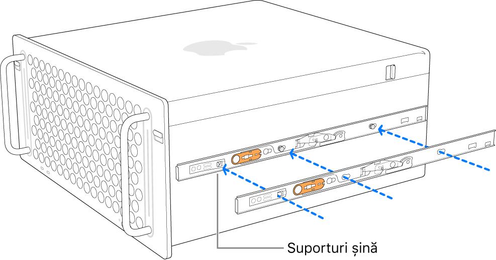 Mac Pro cu o șină interioară atașată la partea laterală.