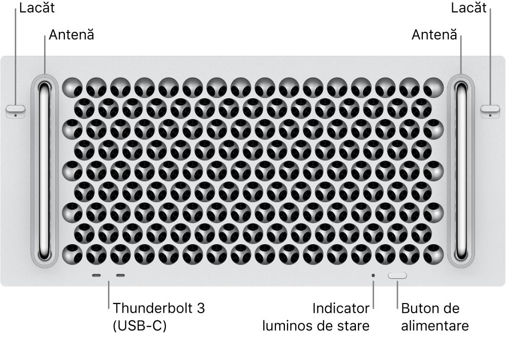 Partea din față a MacPro-ului afișând două porturi Thunderbolt 3 (USB-C), un indicator luminos de sistem, butonul de alimentare și antena.
