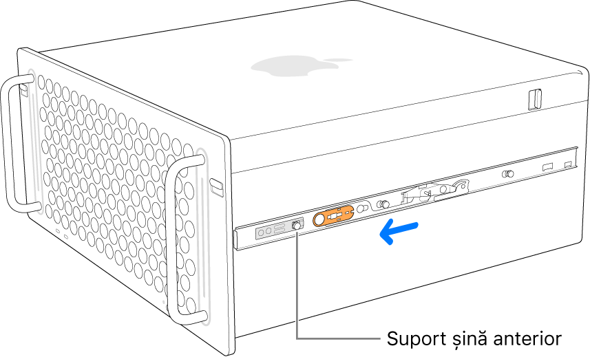 Mac Pro cu o șină în curs de glisare înainte și de blocare în poziție.