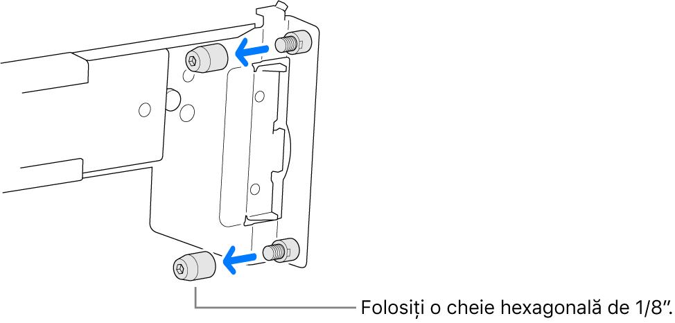 Un ansamblu de șine care se montează într‑un rack cu orificii rotunde.
