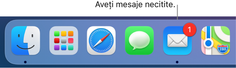 O secțiune a Dock-ului afișând pictograma aplicației Mail, cu un ecuson indicând mesajele necitite.