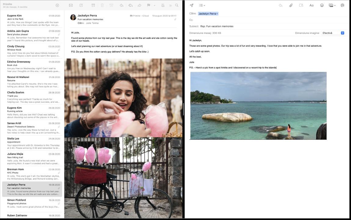 O fereastră Mail în ecran divizat, afișând două mesaje unul lângă celălalt.