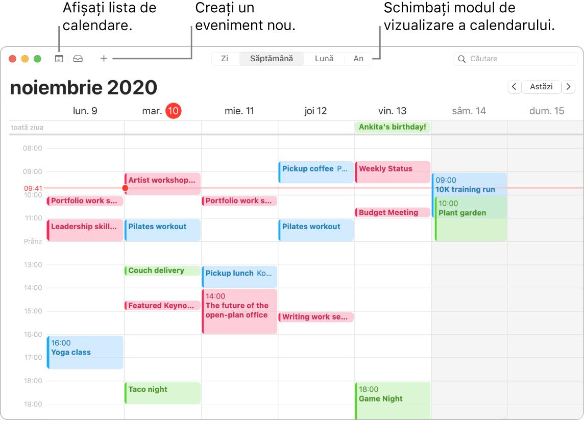 O fereastră Calendar care afișează cum să creați un eveniment, să afișați lista calendarelor și să alegeți vizualizarea Zi, Săptămână, Lună sau An.
