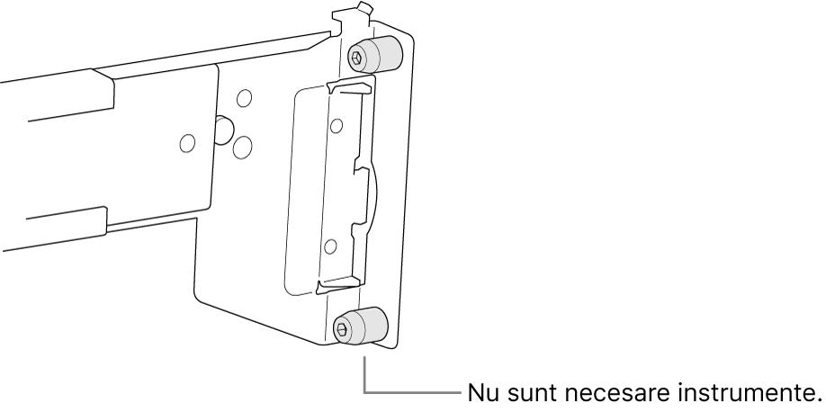 Un ansamblu de șine care se montează într‑un rack cu orificii pătrate.
