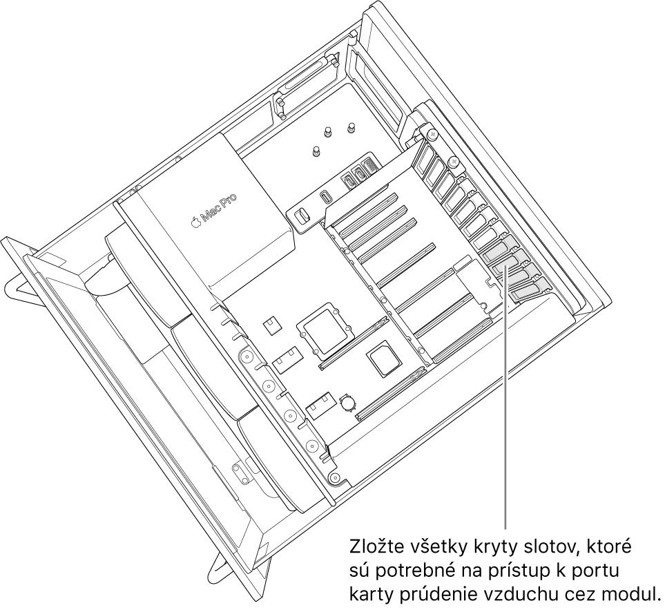 Zložte tie kryty slotov, ktoré sú potrebné na prístup kportu karty ana prúdenie vzduchu cez modul.
