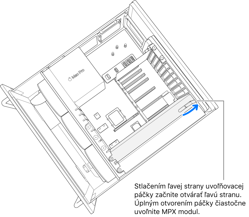 Otvorenie páčky auvoľnenie existujúceho modulu.