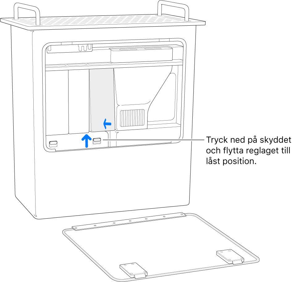Mac Pro står på kortsidan och visar hur du flyttar DIMM-reglaget till låst läge.