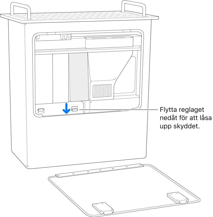 Mac Pro står på kortsidan och visar reglaget som låser upp DIMM-skyddet.